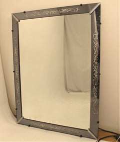 Etched and Smoked Glass Mirror