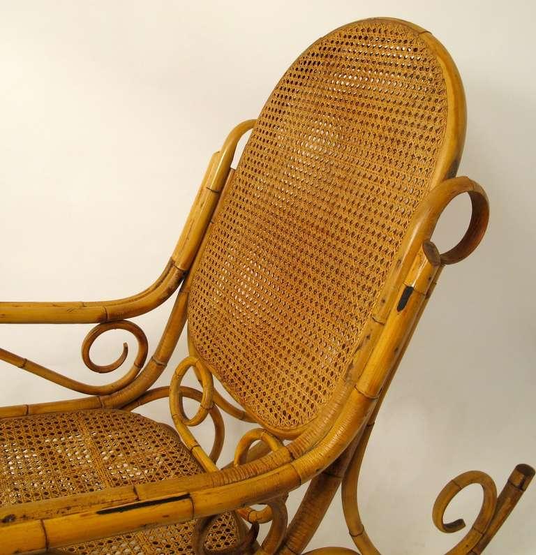 exceptional bent rattan rocking chair at 1stdibs. Black Bedroom Furniture Sets. Home Design Ideas