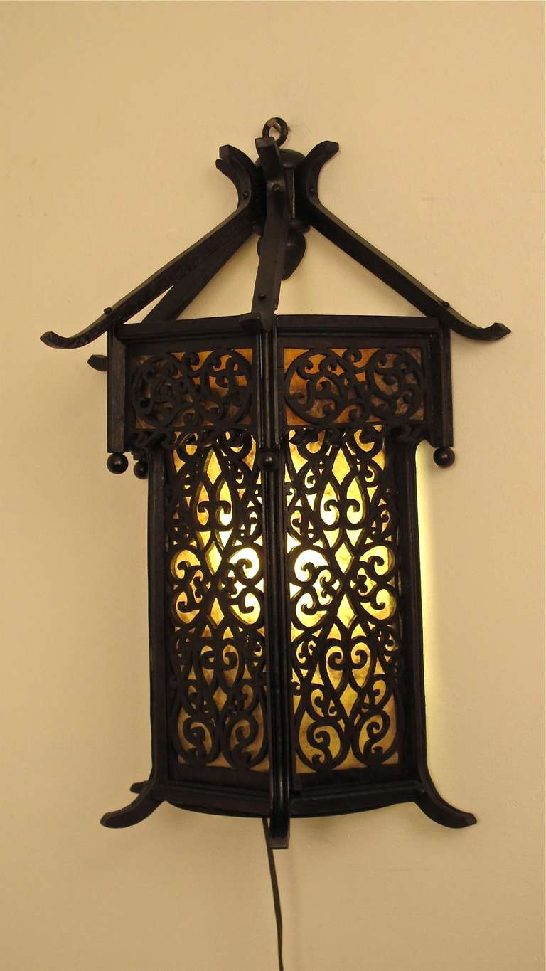 Lantern Style Wall Sconces : Asian Style Wood Wall Lantern/Sconce at 1stdibs