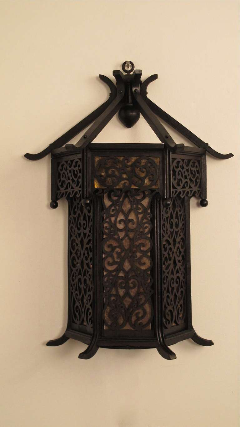 Asian Style Wood Wall Lantern Sconce For Sale At 1stdibs