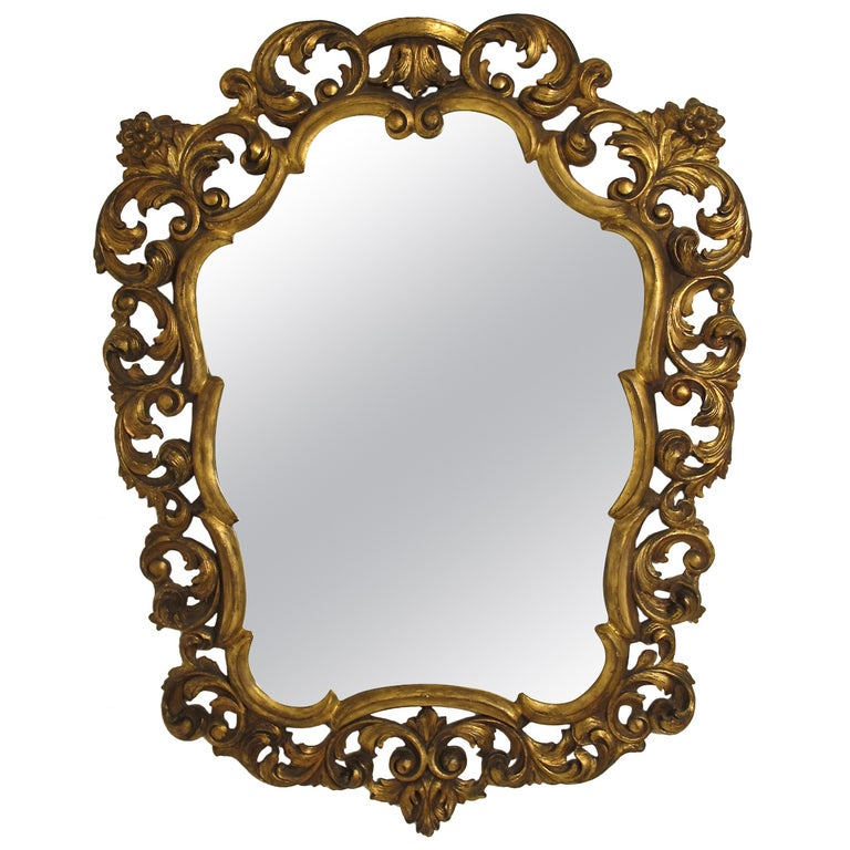 Italian Rococo Style Giltwood Mirror For Sale