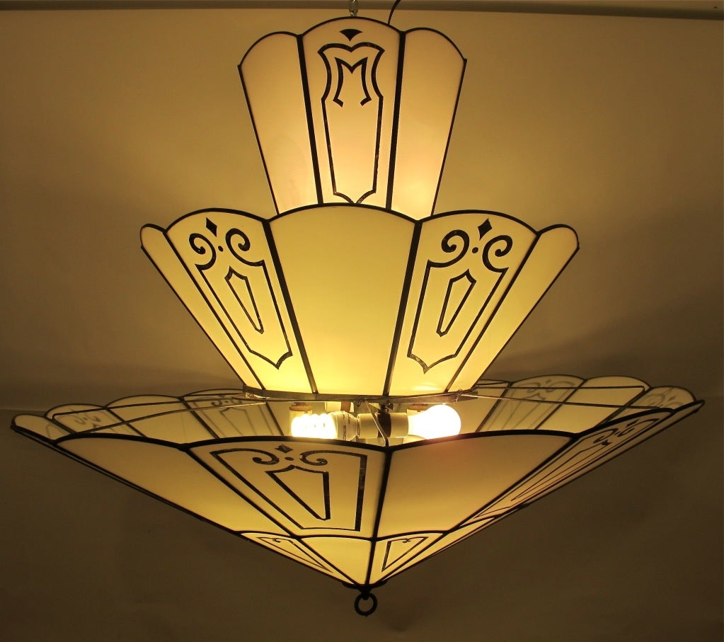 large art deco theatre light fixture at 1stdibs. Black Bedroom Furniture Sets. Home Design Ideas