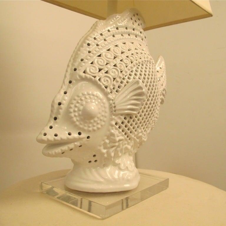 20th Century Large Italian Ceramic Fish Lamp For Sale