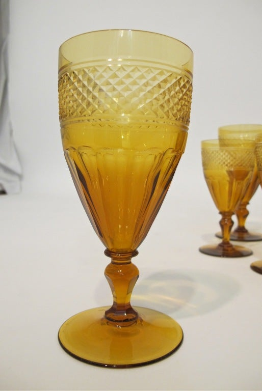 20th Century Amber Crystal Glasses For Sale