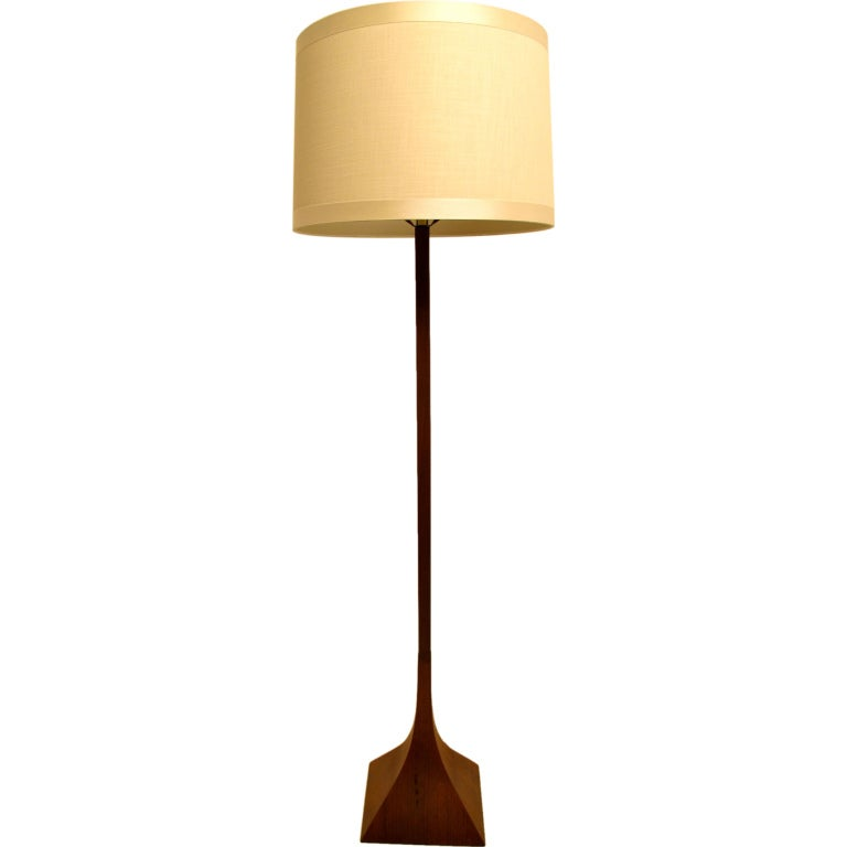 Modernist Walnut Floor Lamp