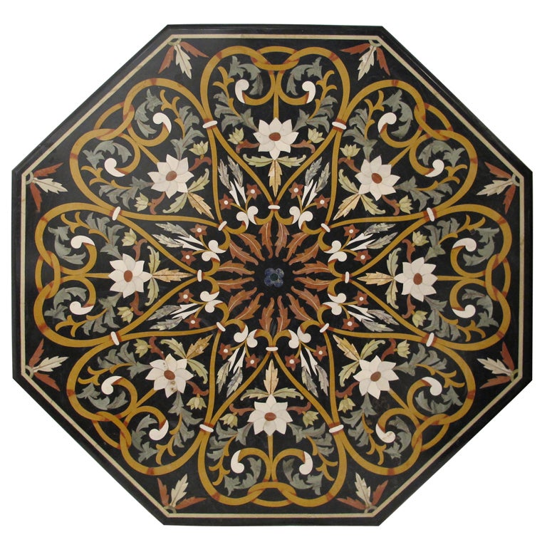 Marble Inlay Table Tops : Large italian pietra dura stone inlay table top for sale