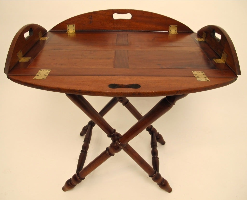 19th century mahogany drop side butler's tray on later stand. Measurements below are with tray opened flat.