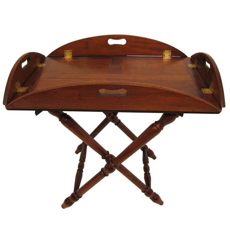English Mahogany Butlers Tray with Stand For Sale