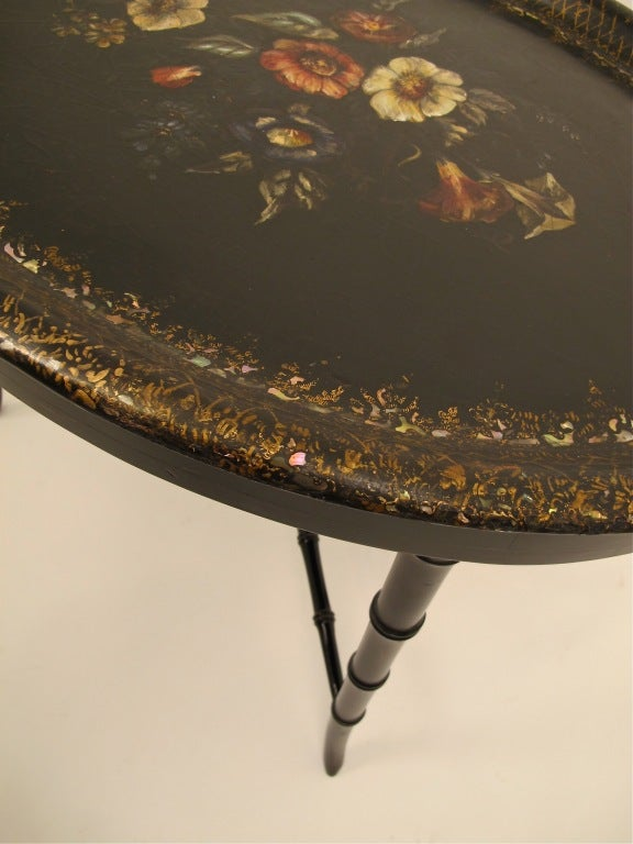 Hand-Painted French Papier Mâché Tray Table For Sale