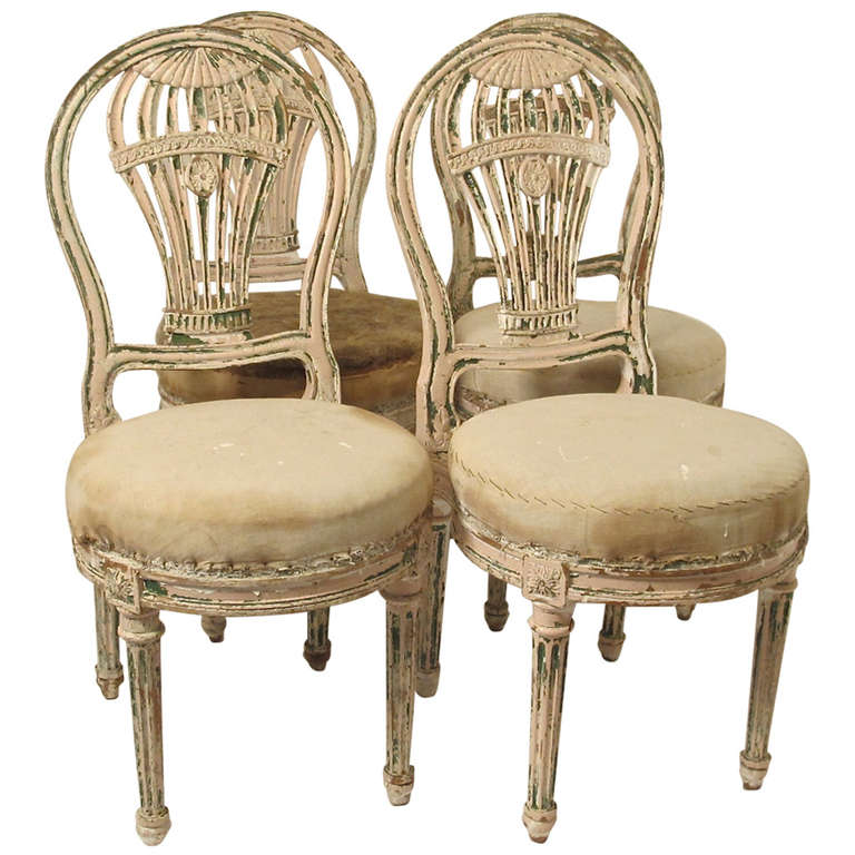 Set of Four Louis XVI Style Balloon Back Dining Chairs, French 19th Century