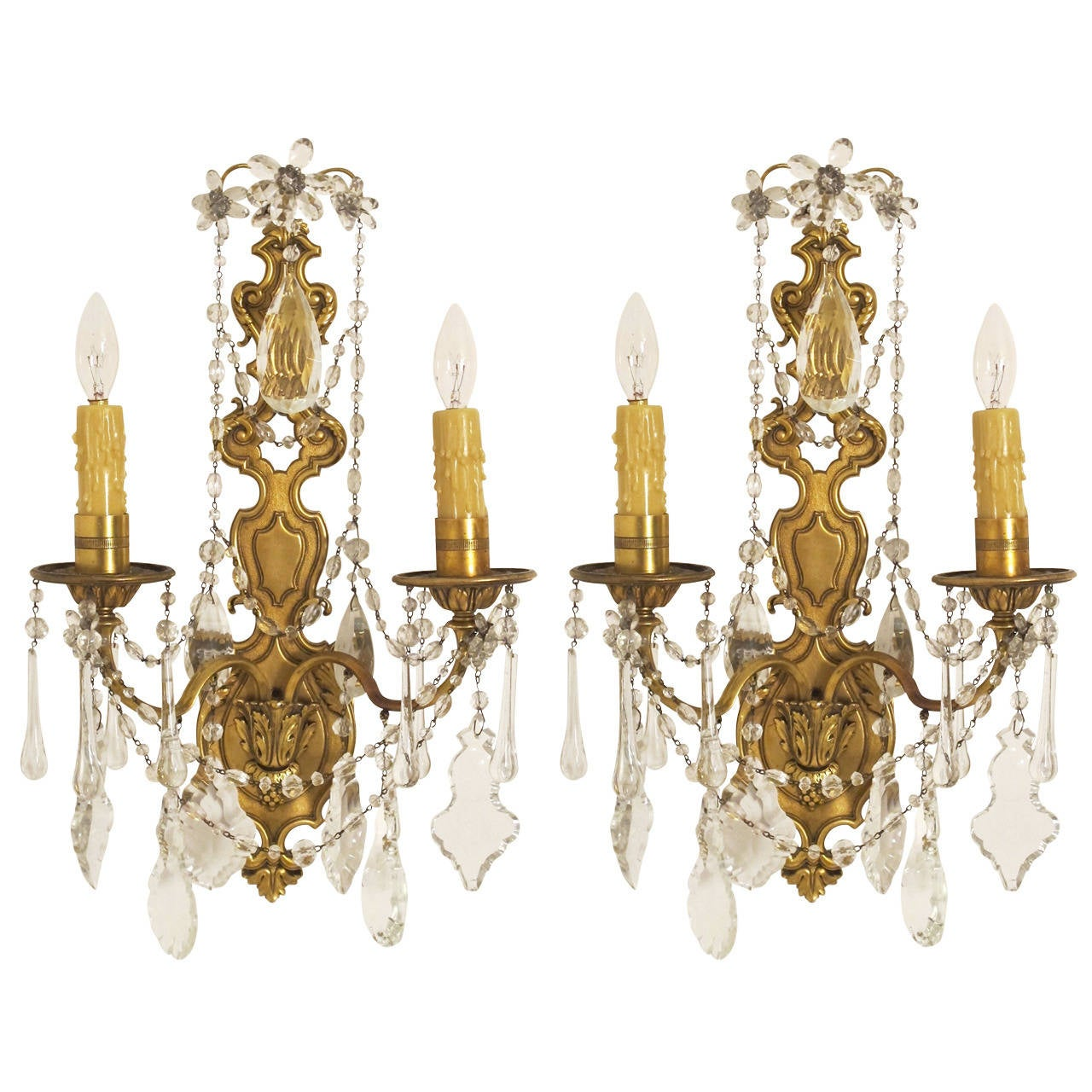 French Brass Wall Sconces : Pair 1920 s French Brass and Crystal Sconces For Sale at 1stdibs