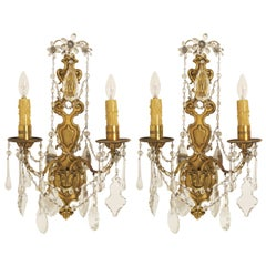 Pair 1920's French Brass and Crystal Sconces