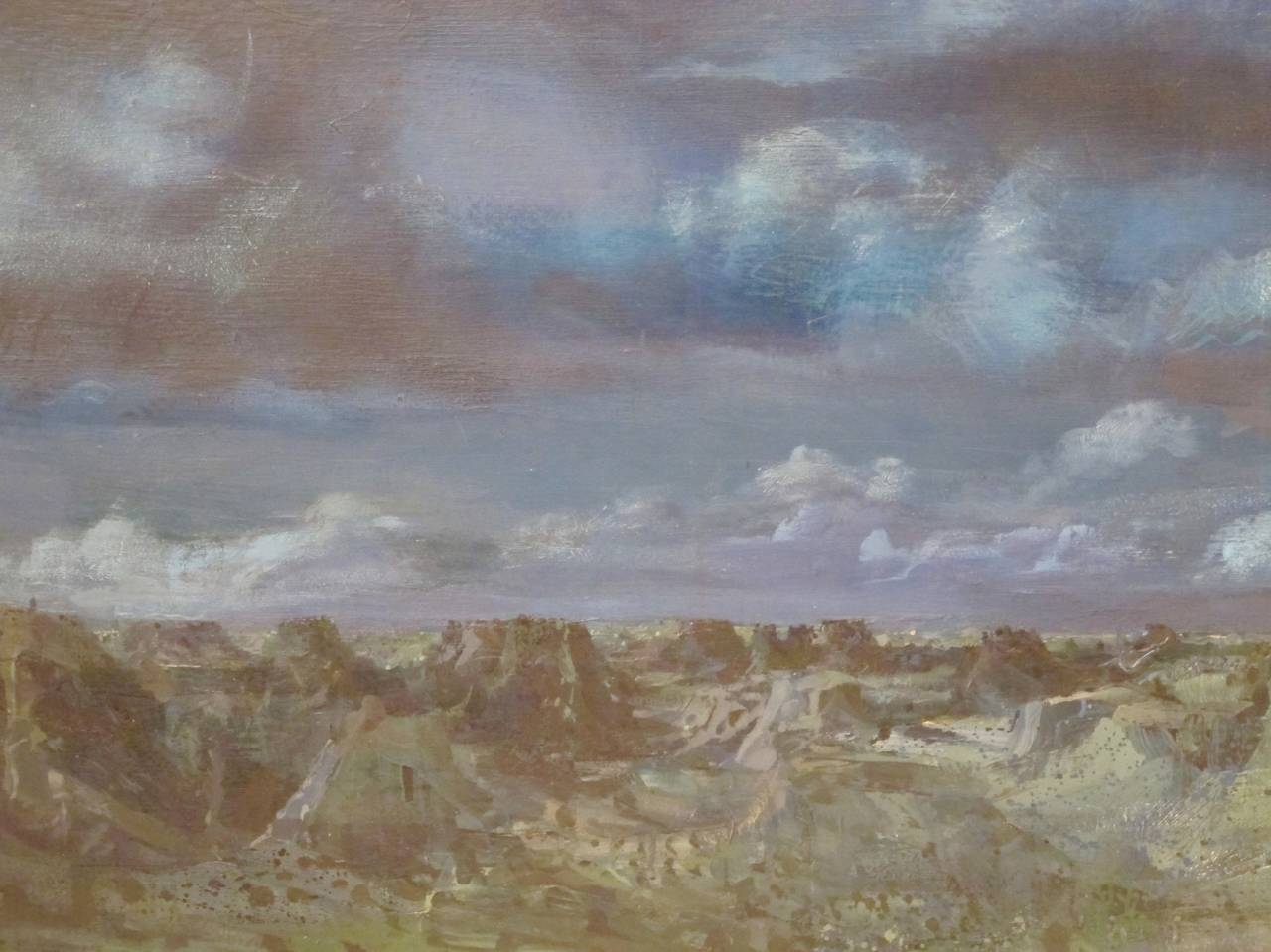American Large Modernist Landscape Painting by California Artist Walter Snellgrove For Sale