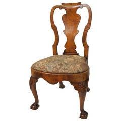 Queen Anne Style Walnut Side or Desk Chair