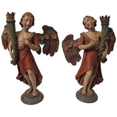 Pair of 18th Century Angel Candle Torchieres