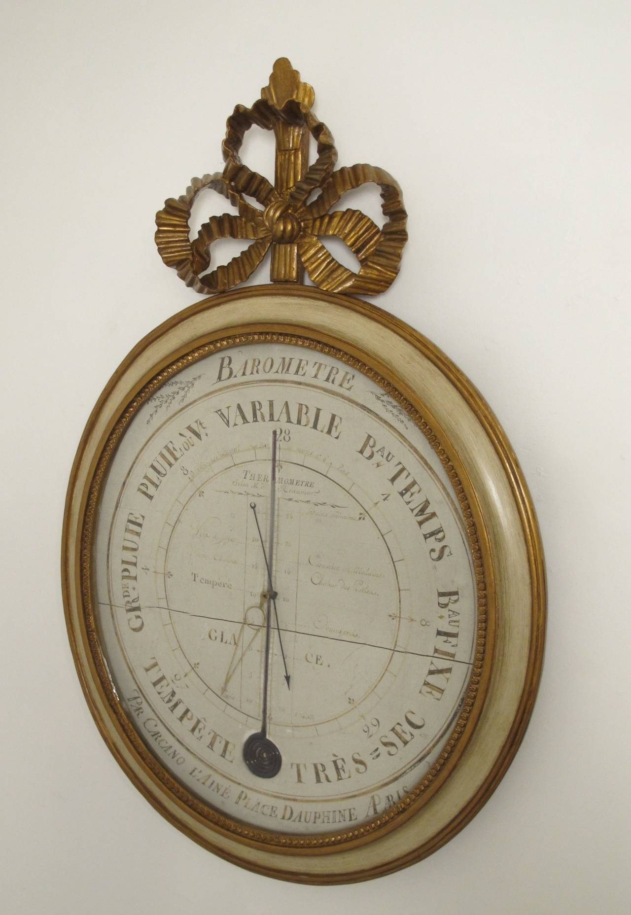 A decorative parcel gilt and painted barometer. Restored and refreshed. France, 19th century.