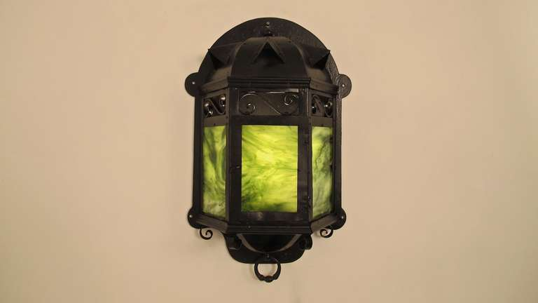 Arts & Crafts period steel and green slag glass wall sconce or lantern. Newly re-wired and re-conditioned. American, early 20th century.