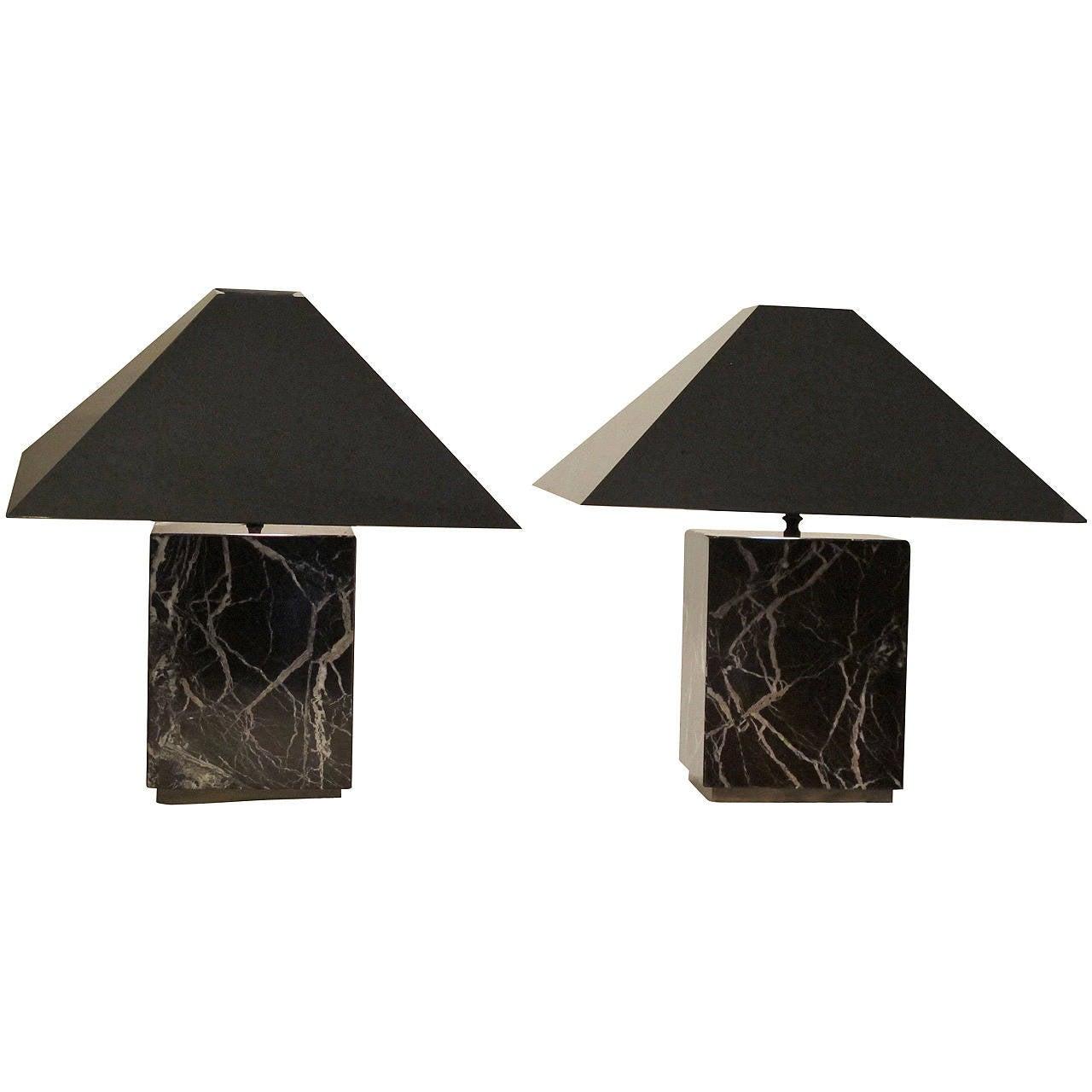 Pair of Mid Century Italian Marble Lamps
