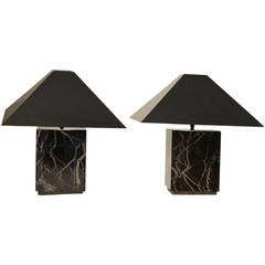 Pair of Mid Century Italian Marble Lamps
