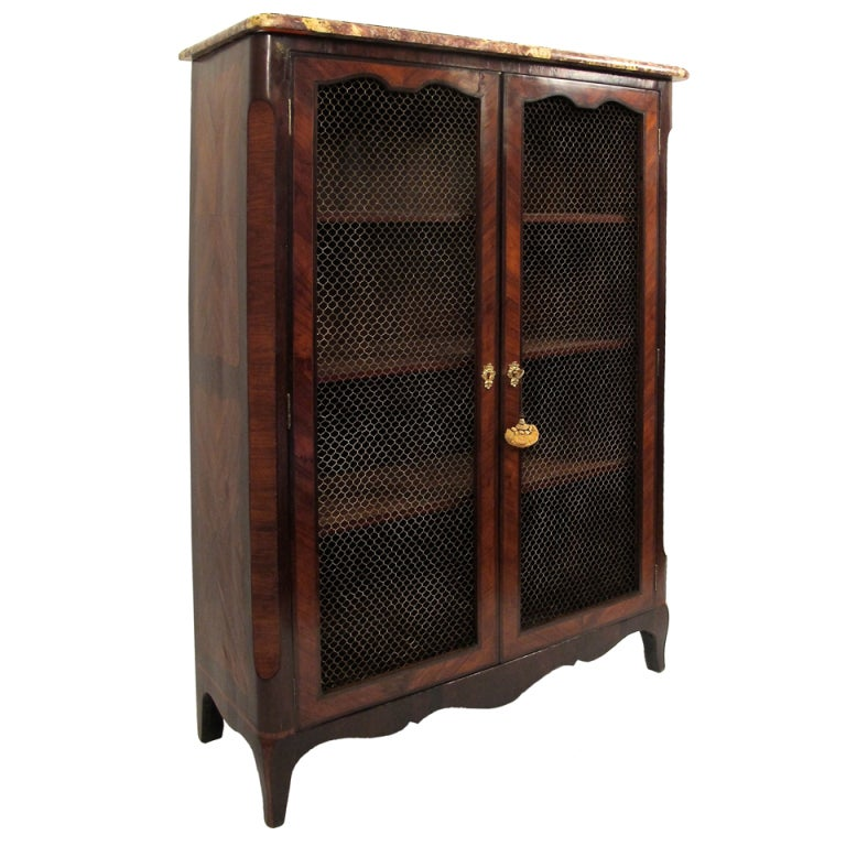 French Mahogany and Rosewood Bibliotheque Bookcase Cabinet