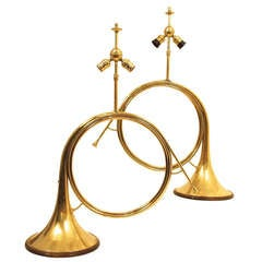 French Brass Hunting Horn Table Lamps, Early 20th Century