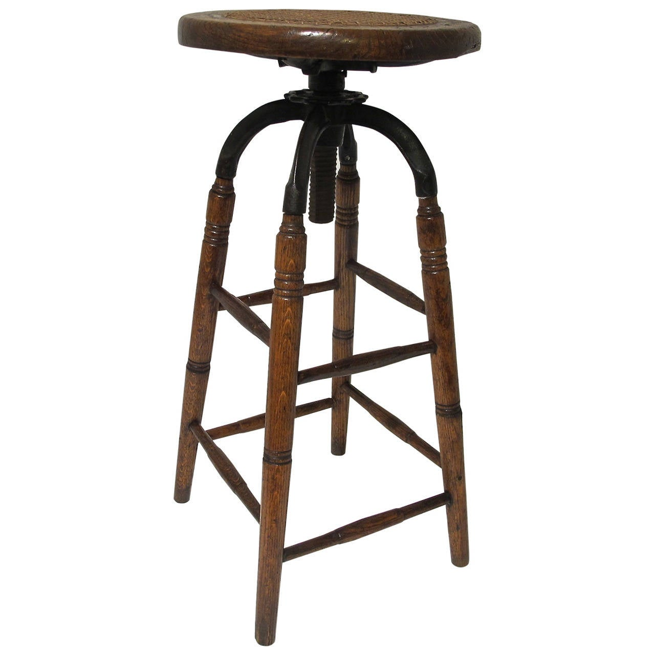 Oak And Iron Industrial Stool With Cane Seat At 1stdibs