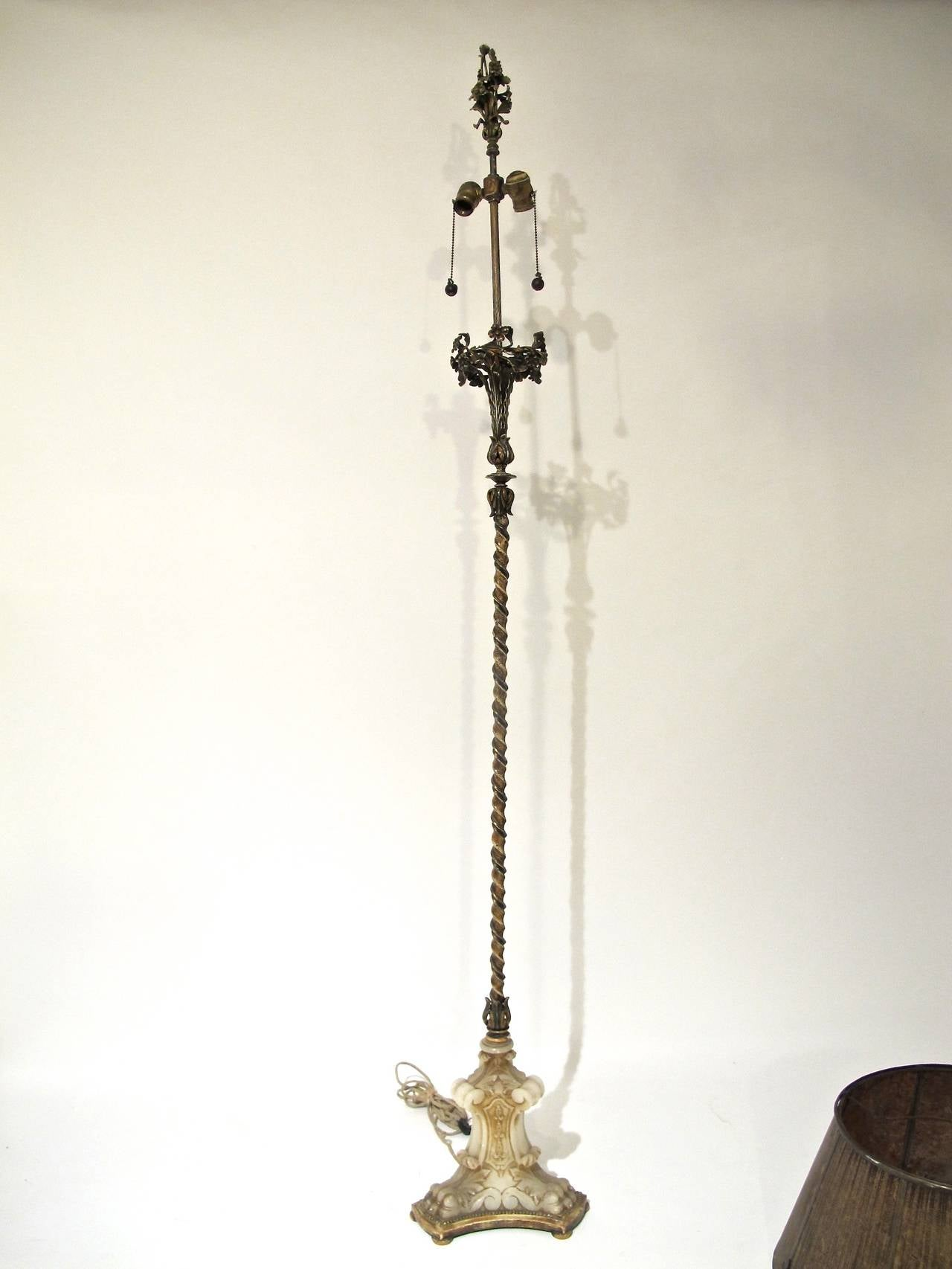 1920s Wrought Iron And Carved Alabaster Floor Lamp At 1stdibs