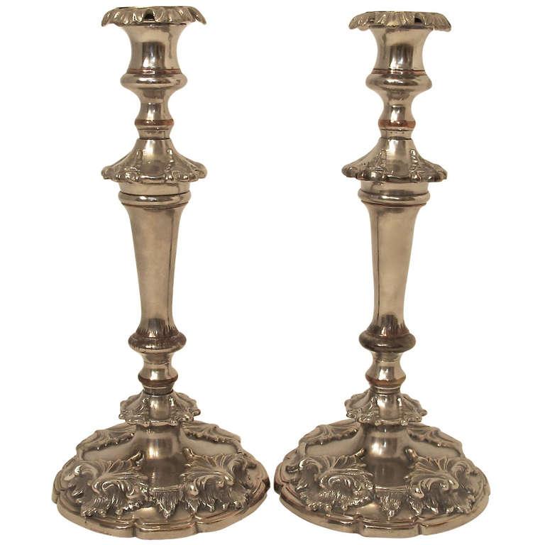 19th Century Silver Sheffield Candlesticks