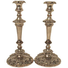 19th Century Silver Sheffield Candlesticks