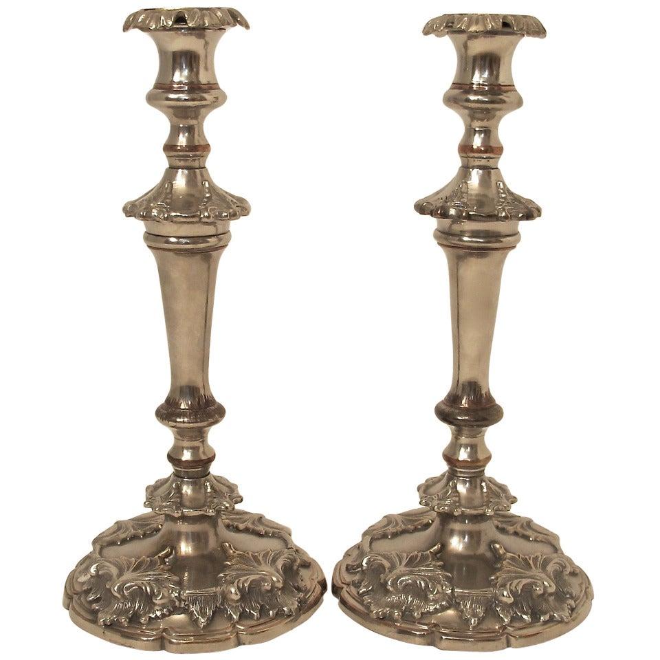 19th Century English Sheffield Silver Candlesticks