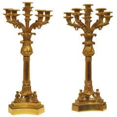 Pair of Empire Gilt Bronze Candelabras