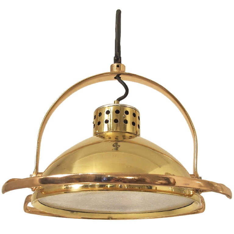 brass and copper industrial light fixture at 1stdibs