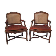 Pair French Regence Walnut Fauteuils Armchairs