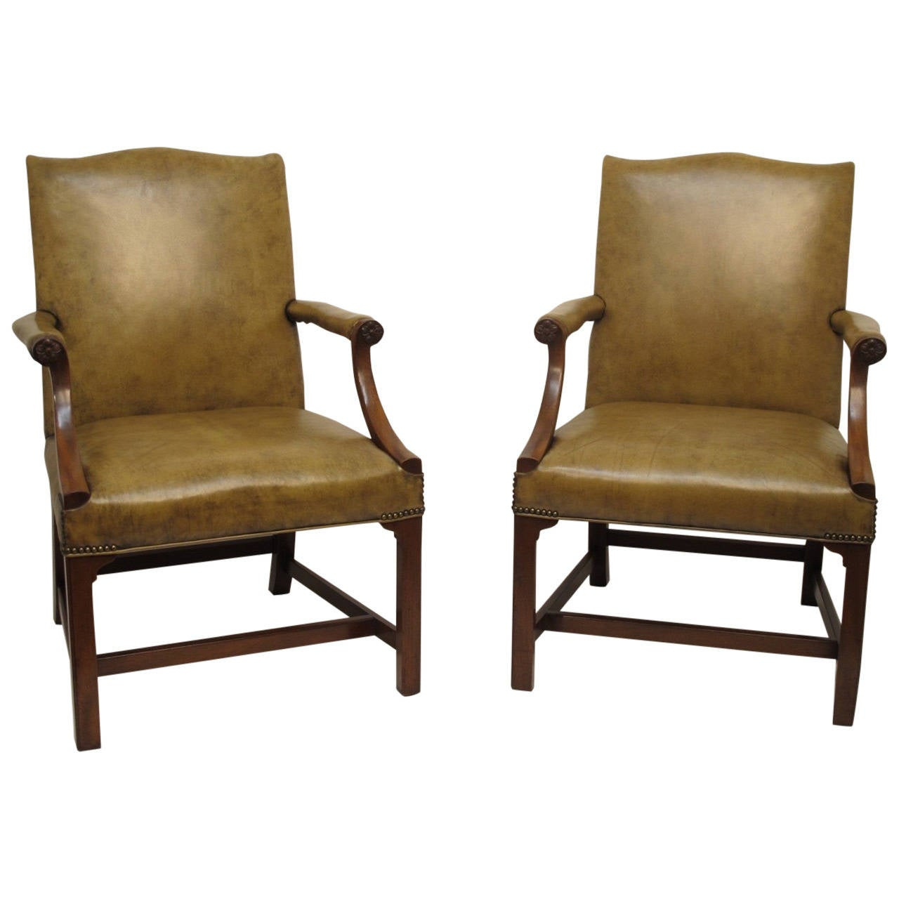 Pair Of Georgian Style Armchairs At 1stdibs