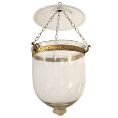 19th C Genuine Free-blown Glass Hanging Hurricane Lantern with Canopy