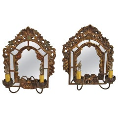 Baroque Style Wood and Mirror Sconces
