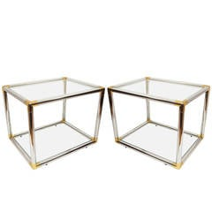 Pair of Italian Mid-Century Modern Chrome and Brass Side Tables