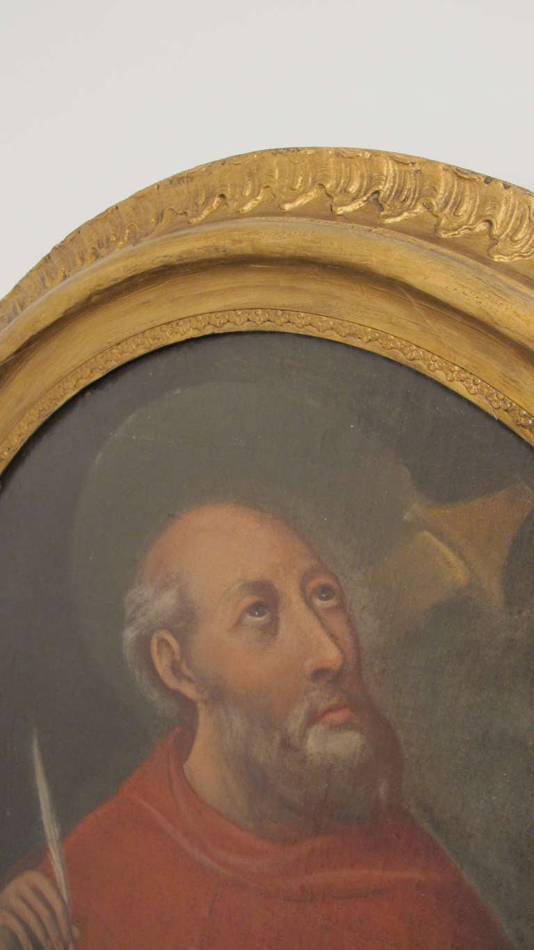 Unknown 18th Century, Spanish Colonial Religious Painting of San Geronimo For Sale