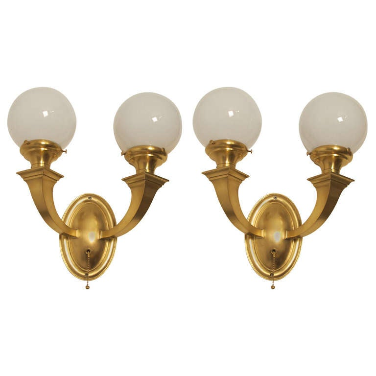 Wall Sconces Double : Brass Double Globe Wall Sconces For Sale at 1stdibs