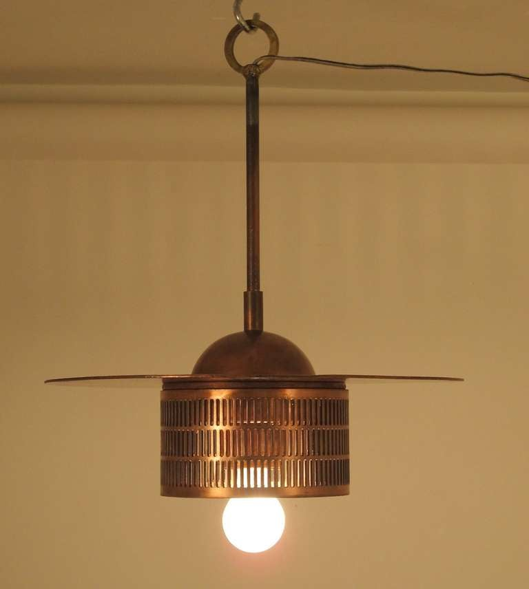 Pair of Industrial Copper Light Fixtures 5