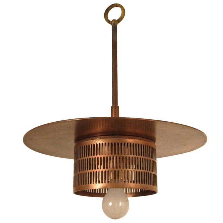 Pair of Industrial Copper Light Fixtures 1
