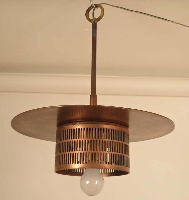 Pair of Industrial Copper Light Fixtures 2