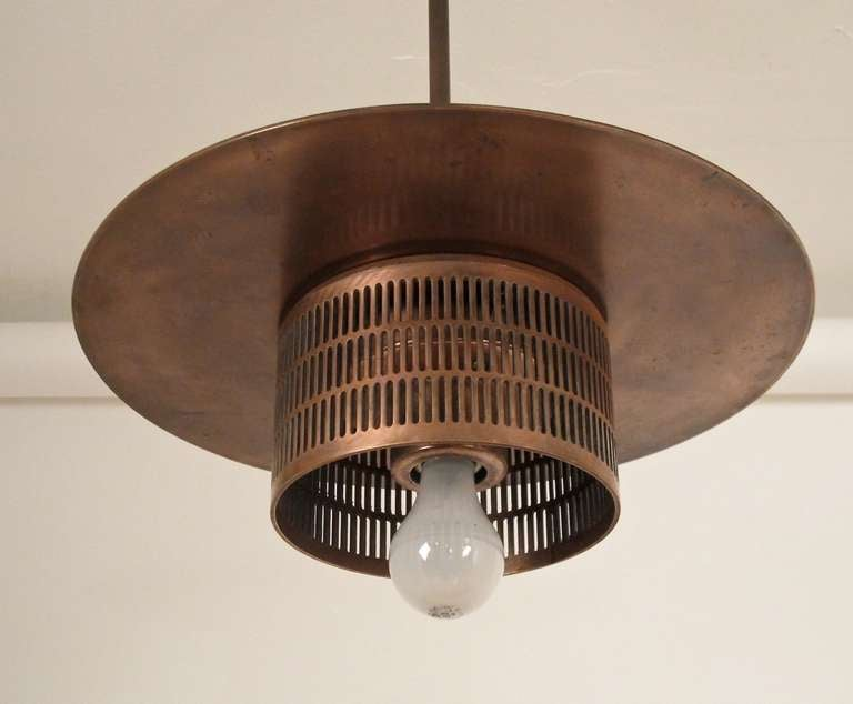 Pair of Industrial Copper Light Fixtures 3