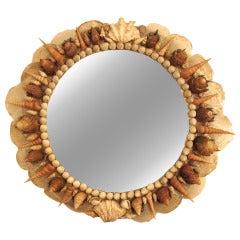 Vintage Seashell Convex Mirror