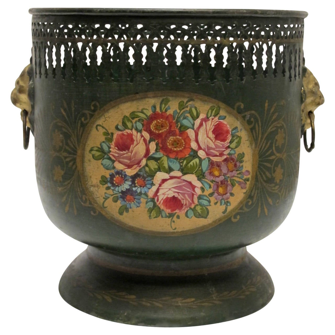 Green Tole Cache Pot with Painted Flowers, English, 19th Century