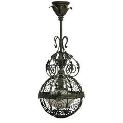 19th Century Patinated Brass Pendant Light Fixture
