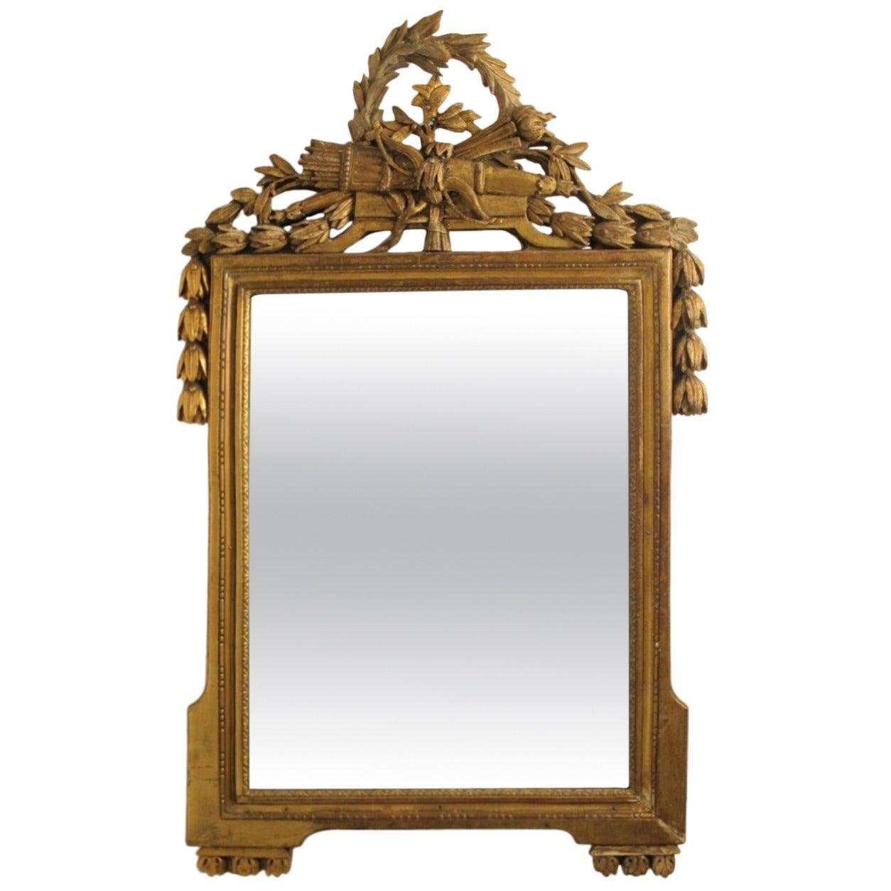 18th Century Louis XVI Gilt Framed Mirror