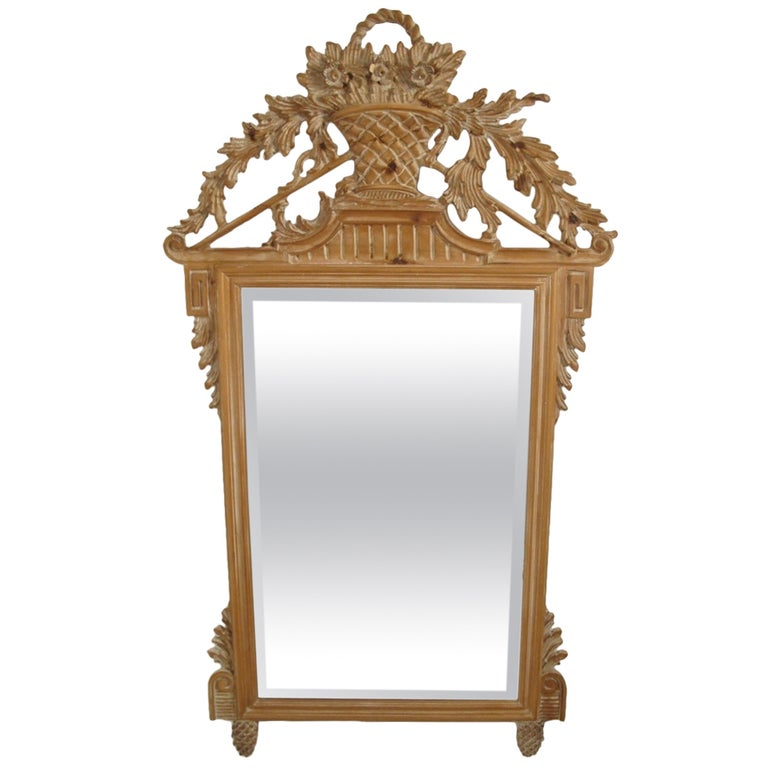 Italian White Washed Mirror For Sale