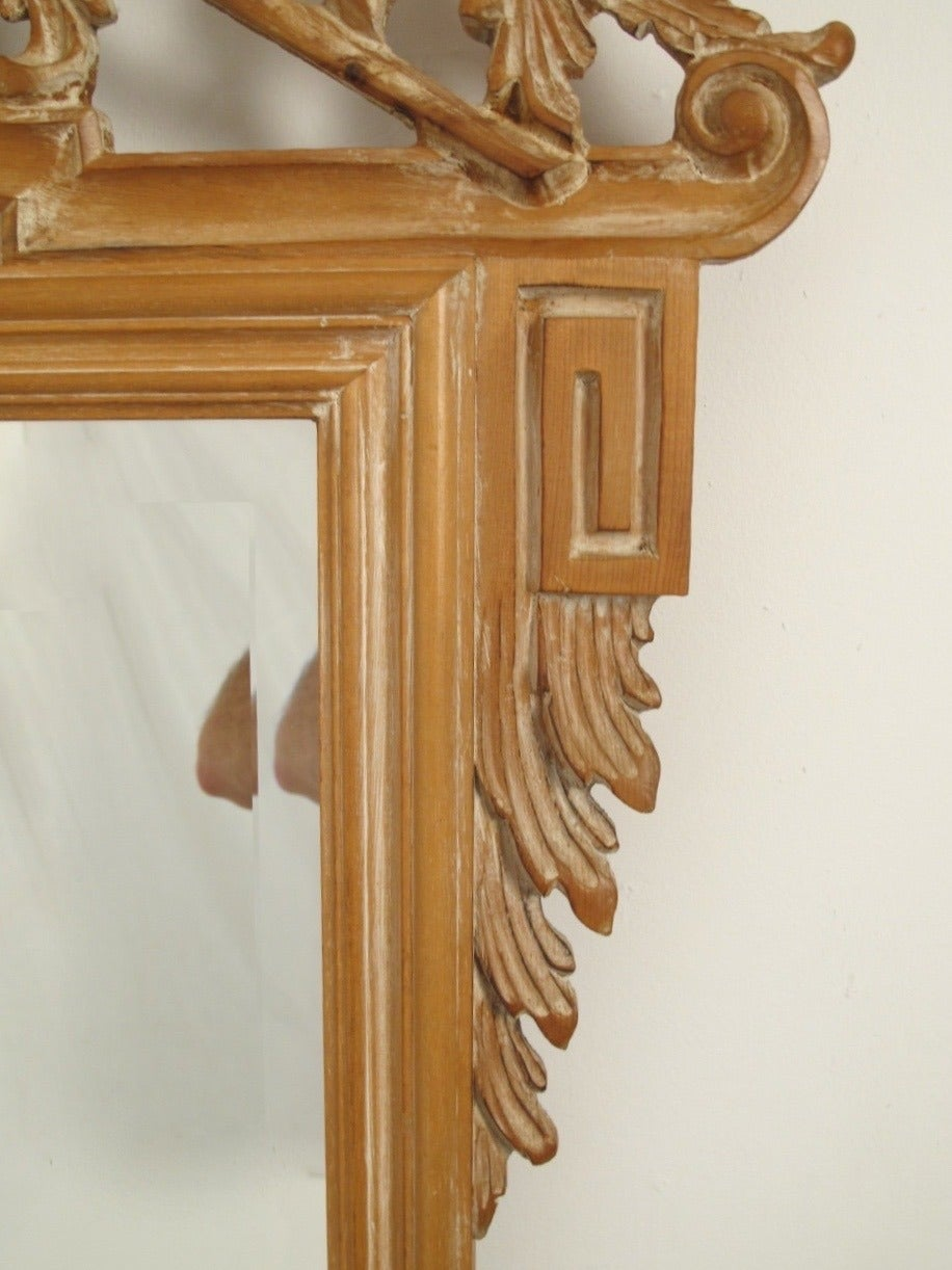 20th Century Italian White Washed Mirror For Sale