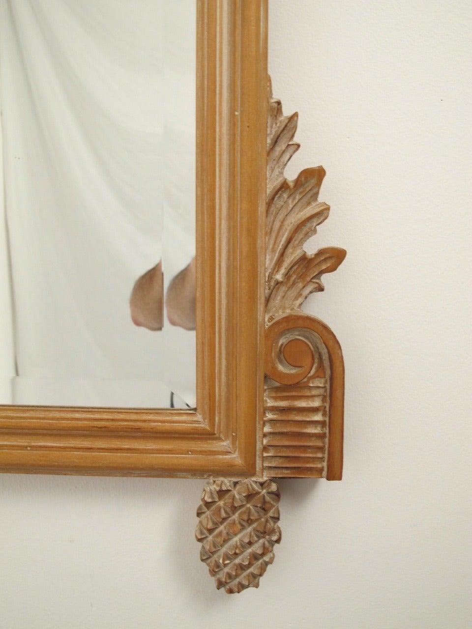 Pine Italian White Washed Mirror For Sale
